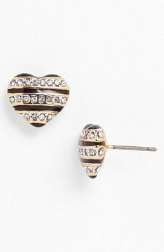Juicy Couture 'Mad for Mod' Stripe Heart Stud Earrings on shopstyle.com