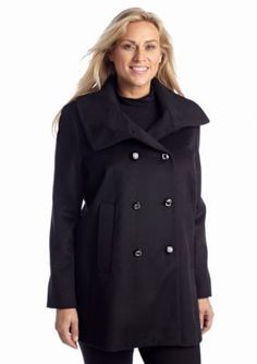 Kristen Blake  Plus Size Button Front Coat