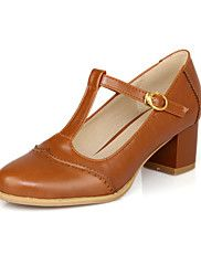 Leatherette Women's Chunky Heel T-Strap Pumps/Heels Shoes(More Colors)