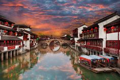 Qibao Ancient Town by peter stewart on Qibao Ancient Town just outside of Shanghai, China Places To Travel, Places To See, Cat Flowers, Garden Architecture, China, Shanghai, River, Landscape, Street