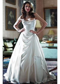 GORGEOUS CHARMING CHARMEUSE A-LINE STRAPLESS WEDDING DRESS LACE BRIDESMAID PARTY BALL COCKTAIL EVENING GOWN IVORY WHITE