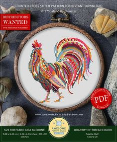 This is modern cross-stitch pattern of Mandala Rooster for instant download. You will get 7-pages PDF file, which includes: - main picture for your reference; - colorful scheme for cross-stitch; - list of DMC thread colors (instruction and key section); - list of calculated