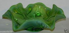 Beautiful Northwood Co. Vintage Depression Glass Bowl. Green Opalescent Medium to Dark Green, Ruffled Edge. $14.99 + 8.50 Shipping. Excellent Deal.