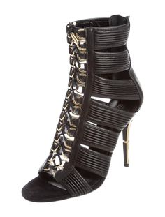 Balmain NEW & SOLD OUT Runway Black Leather Lace Up Gold Heels in Box