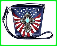 Montana West American USA Patriotic Stars Flag July 4th Cross Messenger Bag Purse Jp (Navy Blue) - Crossbody bags (*Amazon Partner-Link)