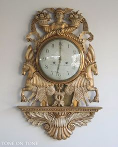 Swedish Neoclassical Ca 1820s gilded and carved wood cartel clock