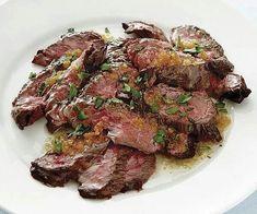 Brazillian skirt steaks with golden garlic butter