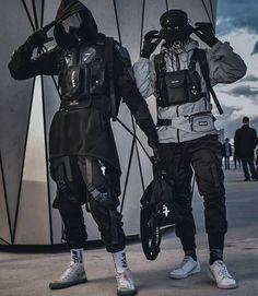 Couple Outfits, Edgy Outfits, Mode Outfits, Grunge Outfits, Mode Cyberpunk, Cyberpunk Clothes, Cyberpunk Fashion, Dark Fashion, Mens Fashion