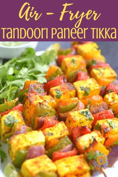 This is the best Tandoori Paneer Tikka you'll ever make at home! Same restaurant style taste, but making them our Air Fryer ! These spiced, marinated Air Fryer Recipes Indian, Indian Food Recipes, Vegetarian Appetizers, Vegetarian Recipes, Indian Appetizers, Indian Snacks, Veggie Recipes, Spicy Recipes, Healthy Recipes