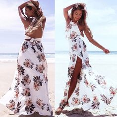 1c9d508bb90c Purchase Floral Print Halter Chiffon Long Dress Women Backless 2017 Maxi  Dresses Vestidos Sexy White Split Beach Summer Dress from Sincolor on  OpenSky