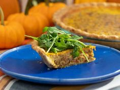 """Savory Pumpkin Quiche with Caramelized Bacon and Onions (Fall Fan Favorites) - Geoffrey Zakarian, """"The Kitchen"""" on the Food Network. Quiche Recipes, Brunch Recipes, Fall Recipes, Holiday Recipes, Dinner Recipes, Pumpkin Quiche, Pumpkin Puree, Pumpkin Pumpkin, Pan Dulce"""