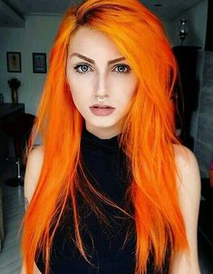 Orange hair- fantasy hair color- fantasy hair color pastel- fantasy hair color o… Orange hair- fantasy hair color- fantasy hair color pastel- fantasy hair color ombre - Station Of Colored Hairs Cheveux Oranges, Dye My Hair, Cool Hair Color, Fun Hair Color, Crazy Colour Hair Dye, Crazy Hair, Gorgeous Hair, Dead Gorgeous, Trendy Hairstyles