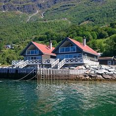 Our Cabins seen from the fjord Cabins, Norway, Vacation, Mansions, House Styles, Instagram, Home Decor, Mansion Houses, Homemade Home Decor