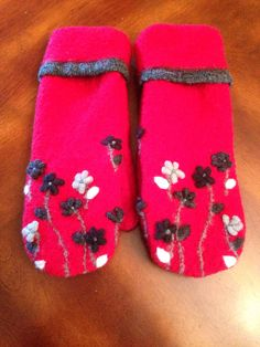 Recycled wool sweater mittens lined with polar fleece