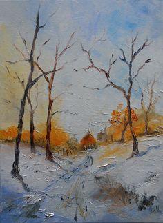 """Tableau paysage """"Neige en campagne"""" - peintures-axelle-bosler : Peintures par peintures-axelle-bosler"""