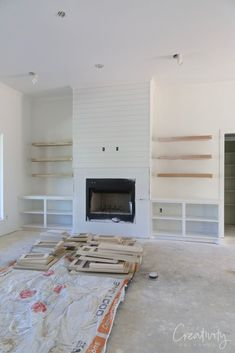 Client Project Sneak Peek: Splurging and Saving Build A Fireplace, Fireplace Built Ins, Home Fireplace, Fireplace Remodel, Living Room With Fireplace, Fireplace Design, Home Living Room, Living Room Designs, Living Room Decor