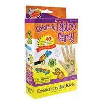 Color in tattoo party kit by Creativity for Kids®. Kit includes 4 skin safe tattoo markers and 40 tattoo designs!