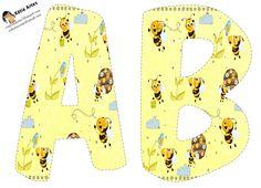 Alfabeto abejitas en fondo amarillo.