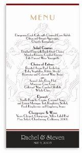 265 Wedding Menu Cards - Shield Horses Chocolate by WeddingPaperMasters.com. $164.30. Now you can have it all! We have created, at incredible prices & outstanding quality, more than 300 gorgeous collections consisting of over 6000 beautiful pieces that are perfectly coordinated together to capture your vision without compromise. No more mixing and matching or having to compromise your look. We can provide you with one piece or an entire collection in a one stop shop...