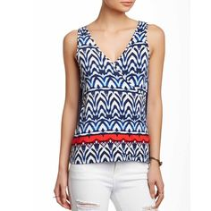 Lilith Blouse in Africa Stripe with Fringe Stunning soft patterned blouse with back detail fringe. New with tags. Tart Tops Tank Tops