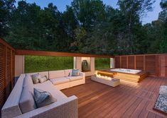 Let's convert the mundane appearance of your terrace patio and make it suitable for your leisure time with the locale of this wonderful decking idea. This project will intensify the charm of your patio with the placement of comfortable sofa set, settlement of the fire pit and the creation of hot tub on the side.