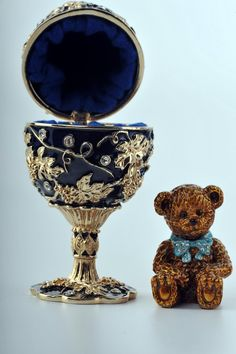 Faberge Egg with Teddy Bear Trinket Box by Keren Kopal Swarovski Crystal - Each item is made of pewter