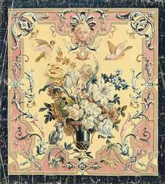 French School, Century , Two Aubusson cartoons for wall hangings of cornucopias of spring flowers within classical borders (one illustrated) Vintage Floral Fabric, Wall Ornaments, French School, Flower Frame, Spring Flowers, Home Art, 19th Century, Vintage World Maps, Tapestry