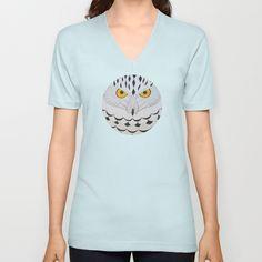 Snowy Owl V-neck T-shirt by Owl Art Suri | Society6