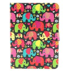 Mesh - Samsung Galaxy Tab 4 10.1 Hoes - Book Cover Olifanten Gekleurd   Shop4TabletHoes