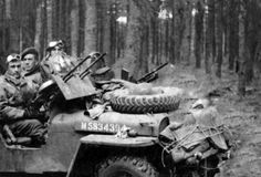 Jeep M5834394 of A Sqn 1st SAS behind Germany lines during Operation Howard (April 1945). My grandfather, Tpr David Cargill sits behind the driver seat.