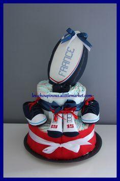 Cadeau original naissance baptême gâteau de couches garçon rugby : Decorazioni per camerette bambini di les-choupinous