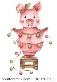Watercolor illustration Piggy 4