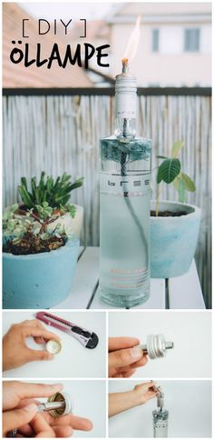 DIY Idee - Öllampe selber machen mit Bree Wine - - DIY Idee – Öllampe selber machen mit Bree Wine DIY idea – make oil lamp yourself with Bree Wine <! Diy Garden Projects, Diy Garden Decor, Projects For Kids, Upcycled Crafts, Diy And Crafts, Wine Bottle Design, Décor Boho, Decoration Table, Decorations