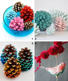 do-it-yourself kids with multicolored pinecones and bird figurine