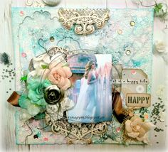 Happy by Eirini Tsaima June Challenge, Wedding Scrapbook, My Canvas, Mood Boards, Happy Life, Cool Words, Congratulations, Mixed Media, Scrapbooking