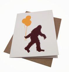 Happy Birthday Sasquatch -- Screenprinted Card, via Etsy.