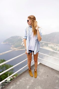 denim shirt and shorts + booties (pictured: fashion blogger Chiara Ferragni) #fashion #style