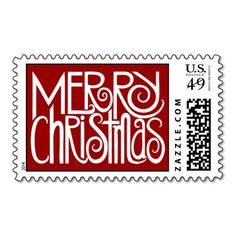 Merry Christmas white Stamp  | Visit the Zazzle Site for More: http://www.zazzle.com/?rf=238228028496470081 [Referral Link]
