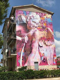#painting #ideas #creative #wall #road #buildings #colouring #decorate #beautiful 3d Street Art, Street Art Graffiti, Graffiti Kunst, Urban Street Art, Graffiti Murals, Best Street Art, Graffiti Painting, Murals Street Art, Amazing Street Art