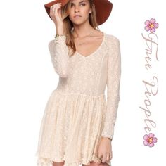 Free People Tea Lace Dress Beautiful all- over lace eyelet Ivory dress is the perfect Spring wardrobe pick,  v- neckline, a- line silhouette, flouncy ruffled hem and stretch to fit style ... Free People Dresses Mini