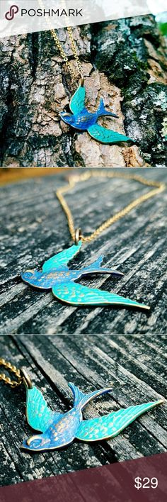 """""""Feathered Fete""""- Solid Brass Sparrow Necklace ON SALE!: Upon securing this soaring sparrow necklace, you decide to spend the day wandering the great outdoors! -There's just something about this ethreal peice, that inspires your adventurous side - with a solid brass sparrow pendant, brushed with a vibrant cobalt and cerulean blue finish, while  soaring valiantly below a glittering brass chain. - For a spirited piece, designed to enliven even your deepest inner wanderer.⚘Handcrafted with…"""