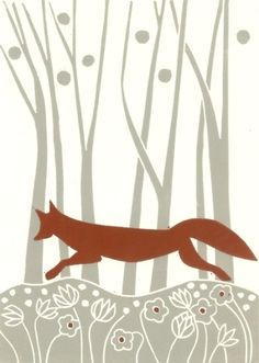 Red+Fox+Linocut+-+Autumn+Woodland+-+Animal+Lover+Gift £22.00