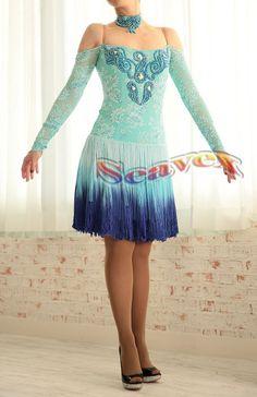 K3738 Fringing women ballroom party latin swing chacha rumba dance dress UK 4