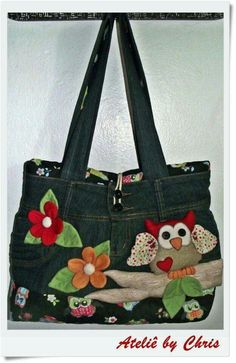 Denim Bags From Jeans, Denim Purse, Denim Bag Patterns, Bag Patterns To Sew, Blue Jean Purses, Patchwork Bags, Fabric Bags, Cute Bags, Handmade Bags