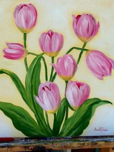 Tulips in pink  Acrylic