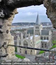 ~Rochester, county Kent southeastern England, was settled by Romans in AD 43. The grand edifice viewed here is Rochester Cathedral, a 7th century church regarded as one of the finest Norman cathedrals in the country and open for public view~