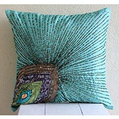 Aqua Blue Pillow Covers, Peacock Feather Sequins and Beaded Sparkly Glitter Pillows Cover, Pillow