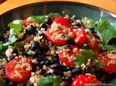 Black Bean Quinoa Sala with Cherry Tomatoes! yummy and healthy!