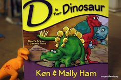 Although the title of the book is D is for Dinosaurs, it is actually an A-Z book going through the bible stories.  Each letter has a prompt page with questions and thoughts for discussions.