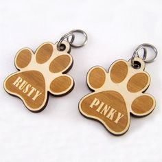 """Each of our custom wood pet ID tags is crafted from the highest-grade woods on the market. Each piece is laser cut, hand sanded, engraved, and finished with a non-toxic matte varnish to ensure maximum durability and weather-resistance.Tags are sized around 1.4-1.6"""" and will fit pets of all sizes from cats to large-breed dogs. Please contact us if you'd like to talk about a different size ID tag for your pet.Tags come in an array of woods and colors. Please make sure to ..."""